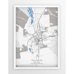 Plakat, mapa SULĘCIN - linia BLUE/GRAY