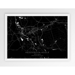 Plakat mapa pozioma KĘDZIERZYN-KOŹLE  - linia BLACK