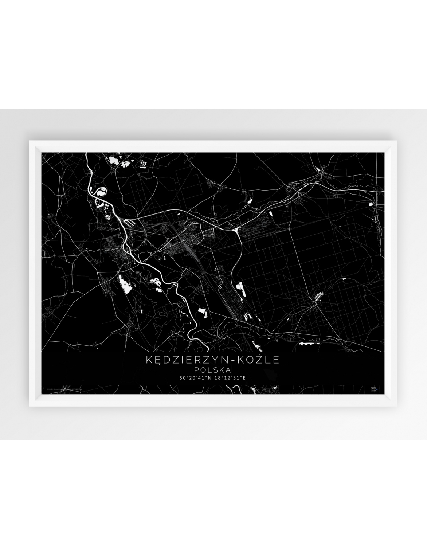 Plakat Mapa Pozioma Kędzierzyn Koźle Seria Black