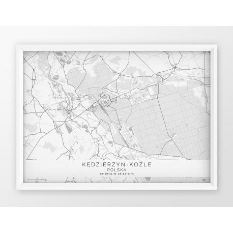Plakat mapa pozioma KĘDZIERZYN-KOŹLE  - linia WHITE