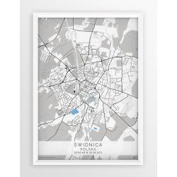 Plakat, mapa ŚWIDNICA - linia BLUE/GRAY