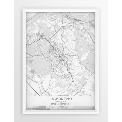 Plakat mapa JAWORZNO - linia WHITE