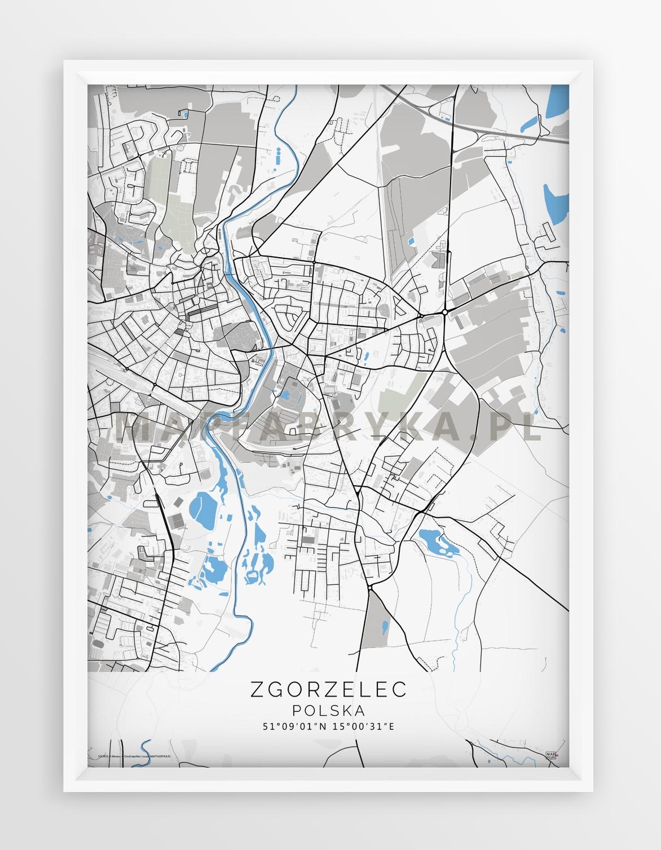 Plakat Mapa Zgorzelec Seria Gray Blue
