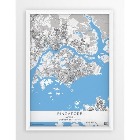 Plakat mapa SINGAPUR - linia BLUE/GREY