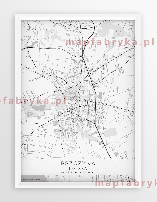 Plakat Mapa Pszczyna Linia White