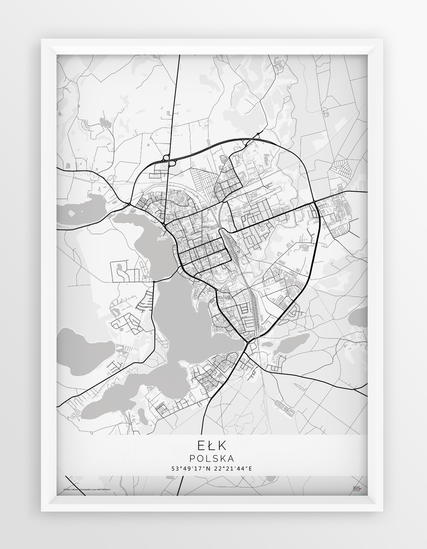 Plakat Mapa Elk Linia White