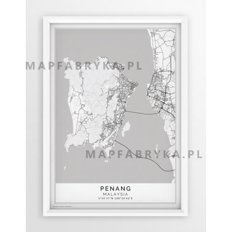 Plakat, mapa PENANG - linia white - PASSEPARTOUT