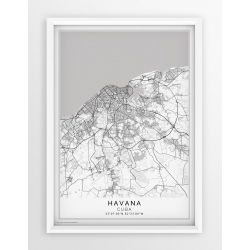 Plakat, mapa HAVANA - linia white - PASSEPARTOUT