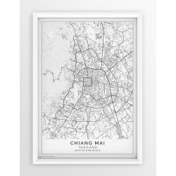 Plakat, mapa CHIANG MAI - linia white - PASSEPARTOUT