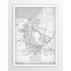 Plakat, mapa ROSTOCK - linia WHITE