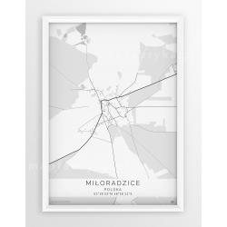 Plakat, mapa MIŁORADZICE- linia WHITE