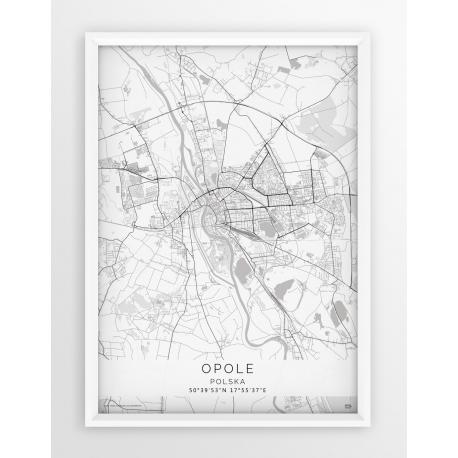 Plakat mapa OPOLE - linia WHITE