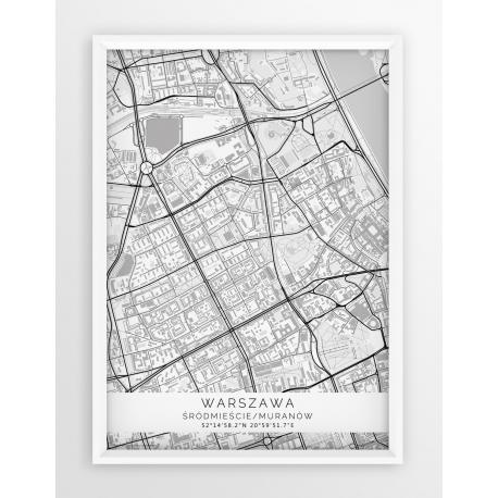 Plakat mapa WARSZAWA - ŚRÓDMIEŚCIE/MURANÓW - linia WHITE