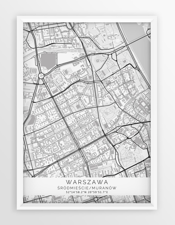 Plakat Mapa Warszawa Srodmiescie Muranow Seria White
