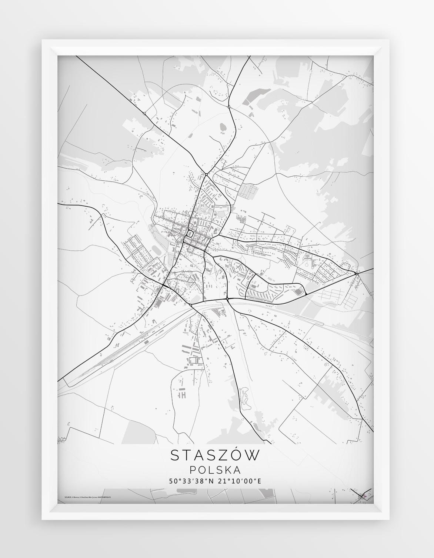 Plakat Mapa Staszow Linia White