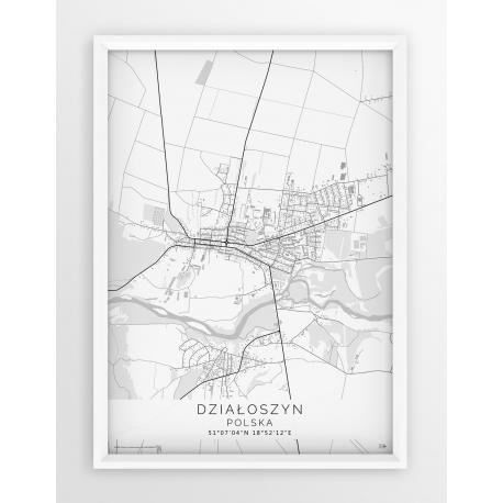 Plakat, mapa DZIAŁOSZYN- linia WHITE