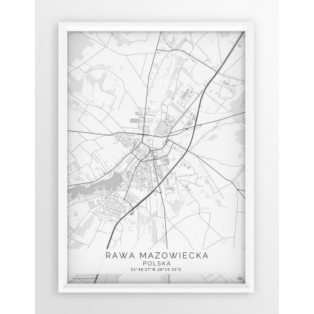 Plakat, mapa RAWA MAZOWIECKA - linia WHITE