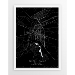 Plakat mapa SKIERNIEWICE - linia BLACK