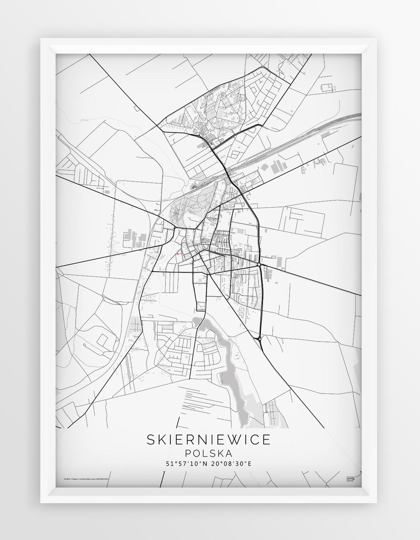 Plakat Mapa Skierniewice Seria White