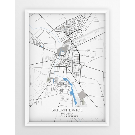 Plakat mapa SKIERNIEWICE - linia BLUE/GREY