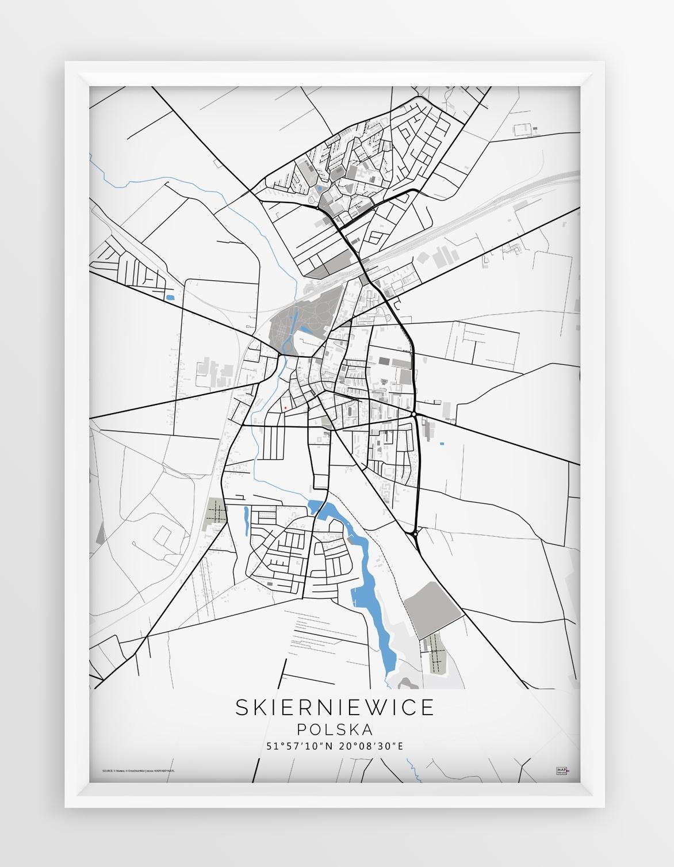 Plakat Mapa Skierniewice Seria Blue Grey