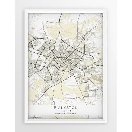 Plakat mapa BIAŁYSTOK - linia BEIGE