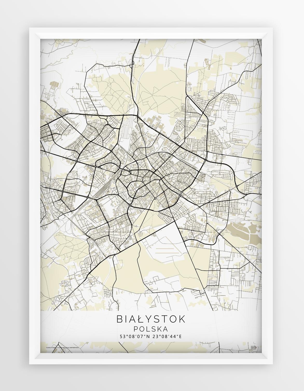 Plakat Mapa Bialystok Seria Beige