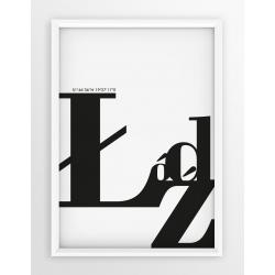 Plakat typograficzny ŁÓDŹ 2 - linia WHITE