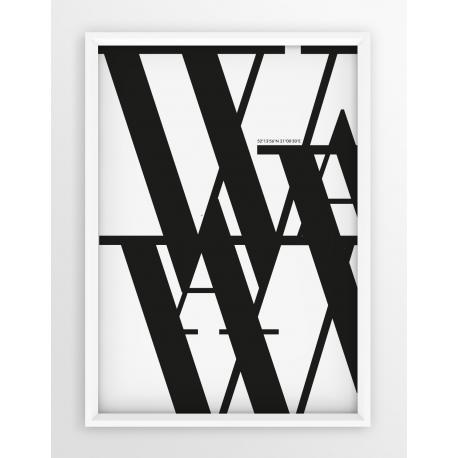Plakat typograficzny WARSZAWA 2 - linia WHITE
