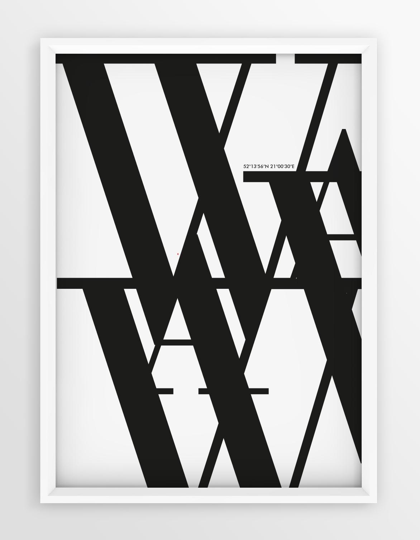 Plakat Typograficzny Warszawa Seria White