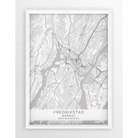 Mapa plakat FREDRIKSTAD- linia WHITE
