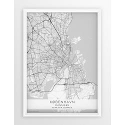 Mapa plakat KOPENHAGA- linia WHITE