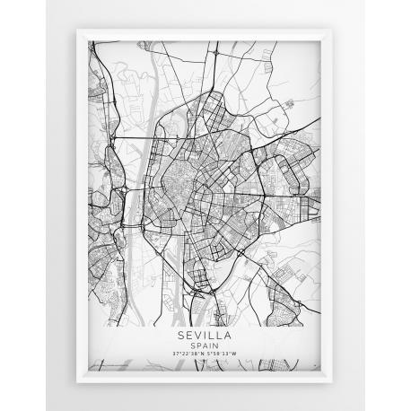 Plakat mapa SEVILLA - linia WHITE