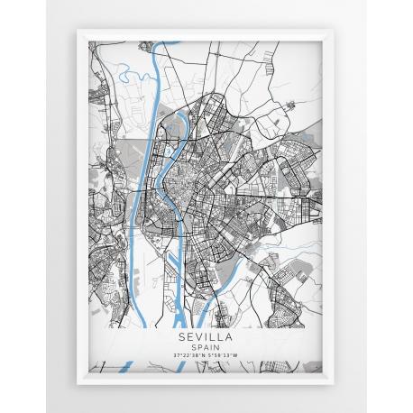 Plakat mapa SEVILLA - linia BLUE/GRAY
