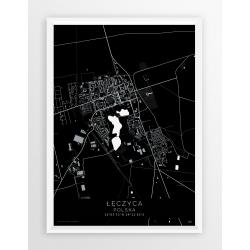 Plakat mapa ŁĘCZYCA - linia BLACK