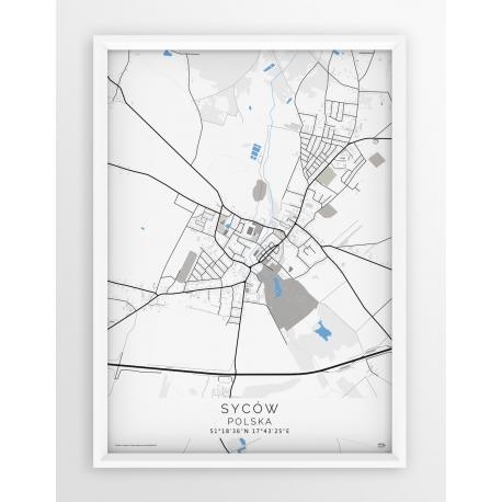Plakat mapa SYCÓW - linia BLUE/GREY