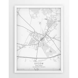 Plakat mapa SYCÓW - linia WHITE