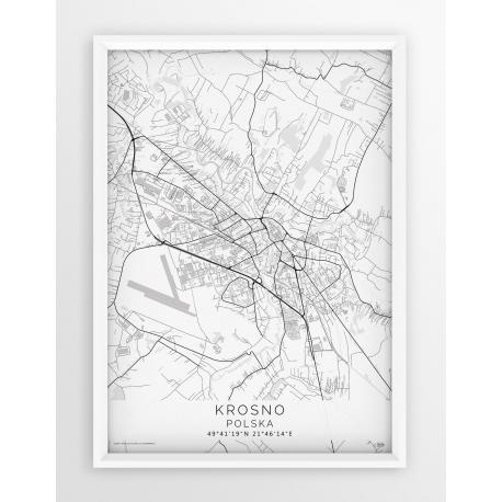 Mapa plakat KROSNO - linia WHITE