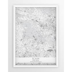 Plakat mapa ŚLĄSK - linia WHITE