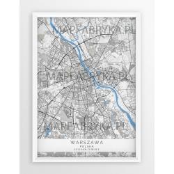Mapa plakat WARSZAWA - XXL wersja B/G