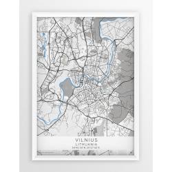 Mapa plakat WILNO- linia BLUE/GRAY