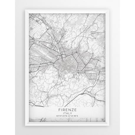 Plakat mapa FLORENCJA - linia WHITE