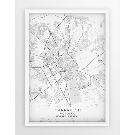 Plakat mapa MARRAKESZ - linia WHITE