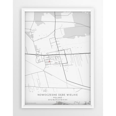 Plakat mapa DĘBE WIELKIE - linia WHITE