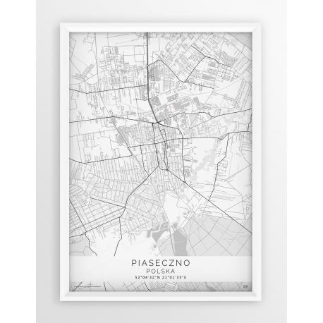 Plakat mapa PIASECZNO - linia WHITE