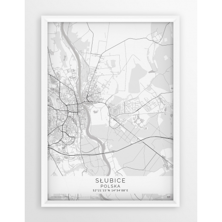 Plakat, mapa SŁUBICE - linia WHITE