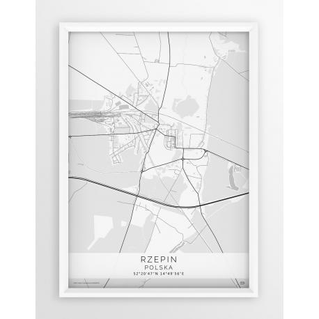 Plakat, mapa RZEPIN - linia WHITE