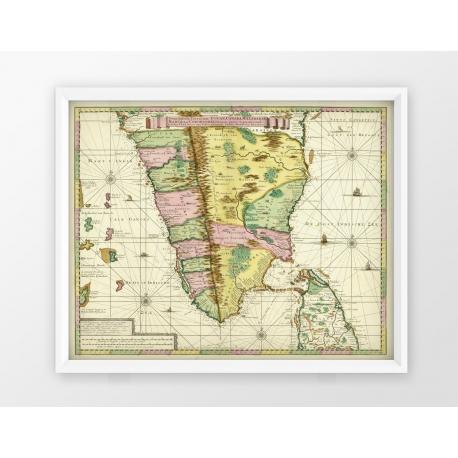 Stara mapa INDIE (1720r) - reprint