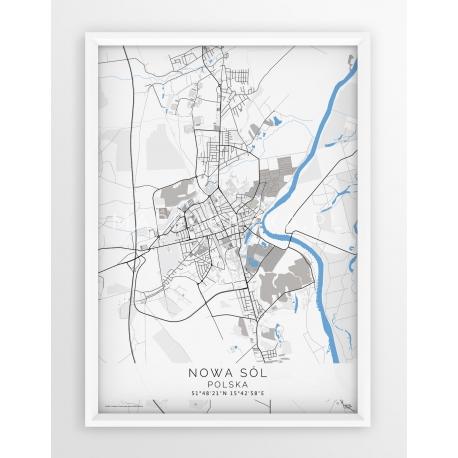 Plakat mapa NOWA SÓL - linia BLUE/GREY