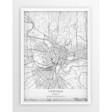 Plakat mapa VERONA - linia WHITE